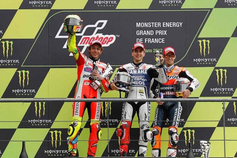 MotoGP, Гран При Франции 2012, Хорхе Лоренцо, Валентино Росси, Кейси Стонер, Подиум