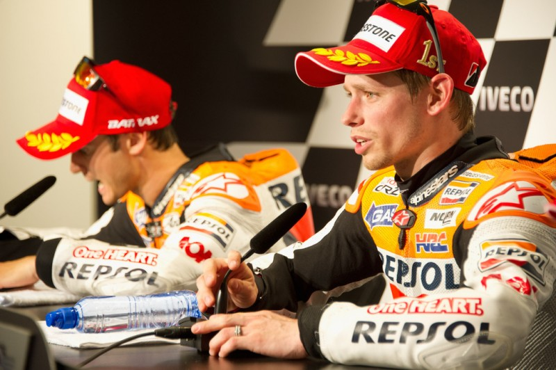 MotoGP, 2012 Iveco TT Assen, Casey Stoner answering questions at post-race press-conference.