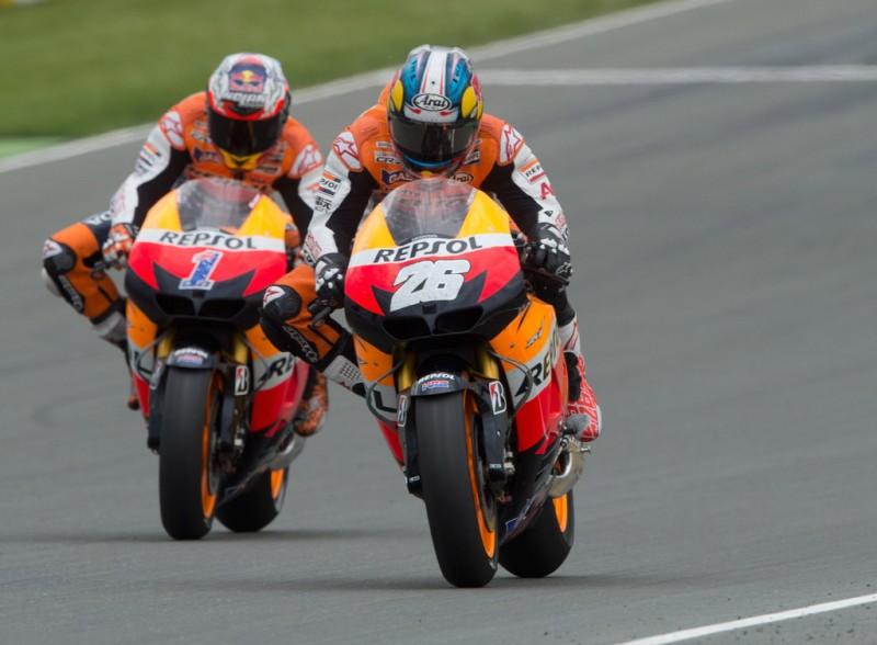 MotoGP, 2012 eni Motorrad Grand Prix Deutschland, Dani Pedrosa leads his team mate Casey Stoner.