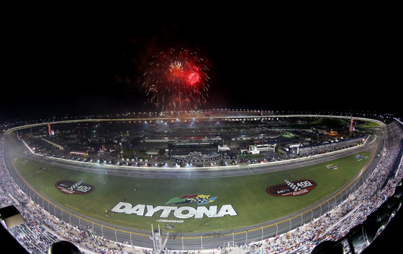 Fireworks are set off after Jimmie Johnson, driver of the #48 Lowe's Dover White Chevrolet, won the NASCAR Sprint Cup Series Coke Zero 400 at Daytona International Speedway on July 6, 2013 in Daytona Beach, Florida.