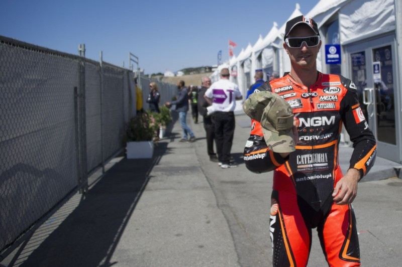 Colin Edwards of USA and NGM Mobile Forward Racing walks in paddock during the MotoGp Red Bull U.S. Grand Prix - Free Practice at Mazda Raceway Laguna Seca on July 19, 2013 in Monterey, California.