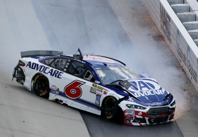 Trevor Bayne, driver of the #6 AdvoCare Ford, crashes during the NASCAR Sprint Cup Series FedEx 400 Benefiting Autism Speaks at Dover International Speedway on May 31, 2015 in Dover, Delaware.