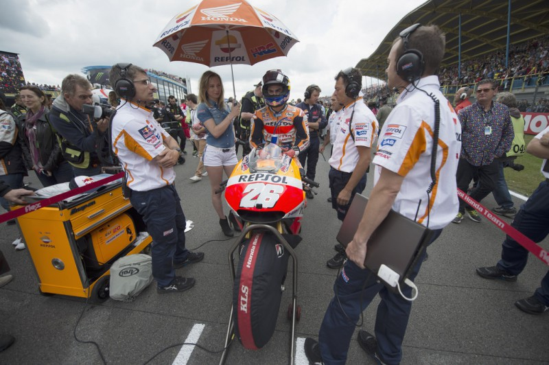 Dani Pedrosa of Spain and Repsol Honda Team prepares to start on the grid. during the MotoGP race during the MotoGP Netherlands - Race at on June 27, 2015 in Assen, Netherlands.