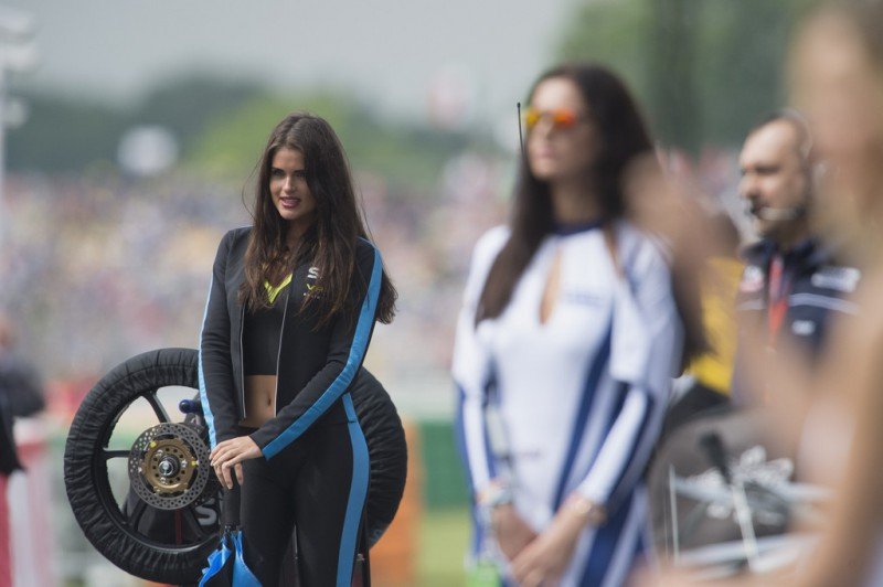 Grid girl pose on the grid during the Moto3 race during the MotoGP Netherlands - Race at on June 27, 2015 in Assen, Netherlands.