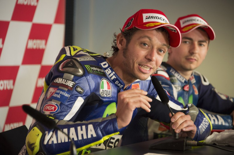 Valentino Rossi of Italy and Movistar Yamaha MotoGP speaks during the press conference at the end of the MotoGP race during the MotoGP Netherlands - Race at on June 27, 2015 in Assen, Netherlands.
