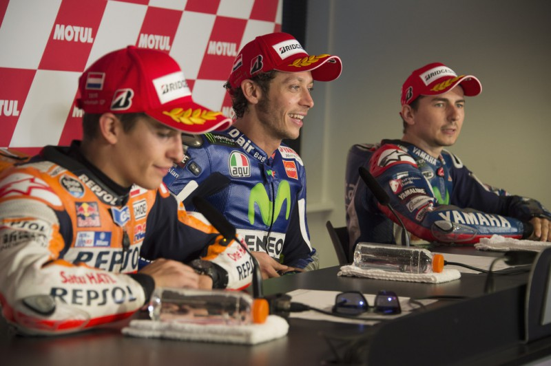 Valentino Rossi of Italy and Movistar Yamaha MotoGP smiles during the press conference at the end of the MotoGP race during the MotoGP Netherlands - Race at on June 27, 2015 in Assen, Netherlands.