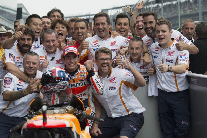 Marc Marquez of Spain and Repsol Honda Team celebrates with team the victory at the end of the MotoGP race during the MotoGp Red Bull U.S. Indianapolis Grand Prix - Race at Indianapolis Motor Speedway on August 9, 2015 in Indianapolis, Indiana.