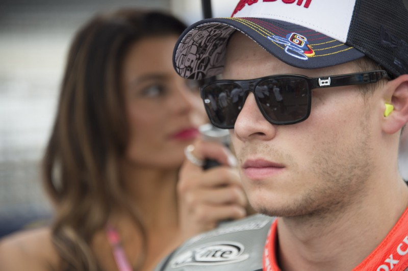 Stefan Bradl of Germany and Factory Aprilia Gresin prepares to start from the grid during the MotoGP race during the MotoGp Red Bull U.S. Indianapolis Grand Prix - Race at Indianapolis Motor Speedway on August 9, 2015 in Indianapolis, Indiana.