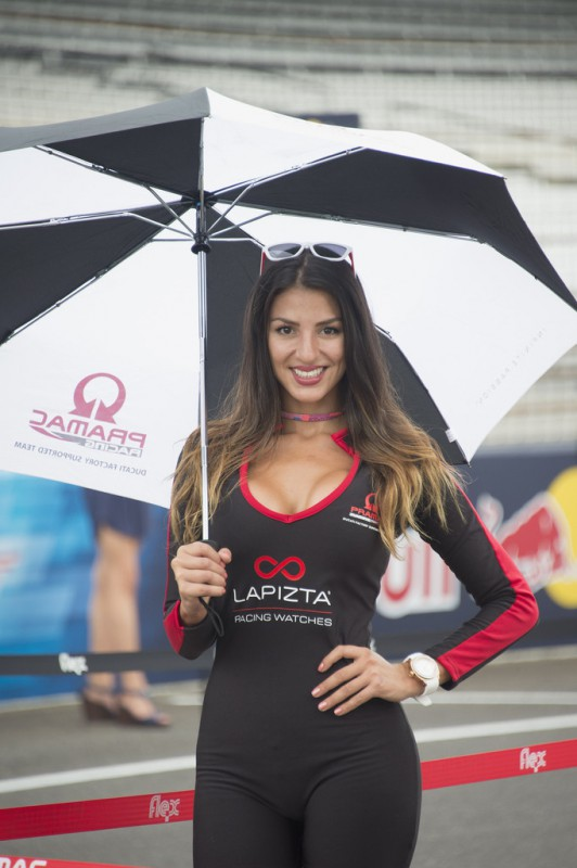 The grid girl poses on the grid during the MotoGP race during the MotoGp Red Bull U.S. Indianapolis Grand Prix - Race at Indianapolis Motor Speedway on August 9, 2015 in Indianapolis, Indiana.