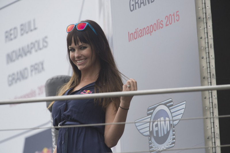 The grid girl poses on the podium during the MotoGP race during the MotoGp Red Bull U.S. Indianapolis Grand Prix - Race at Indianapolis Motor Speedway on August 9, 2015 in Indianapolis, Indiana.