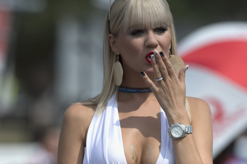 The grid girl poses on the grid during the MotoGP race during the MotoGp of Czech Republic - Race at Brno Circuit on August 16, 2015 in Brno, Czech Republic.