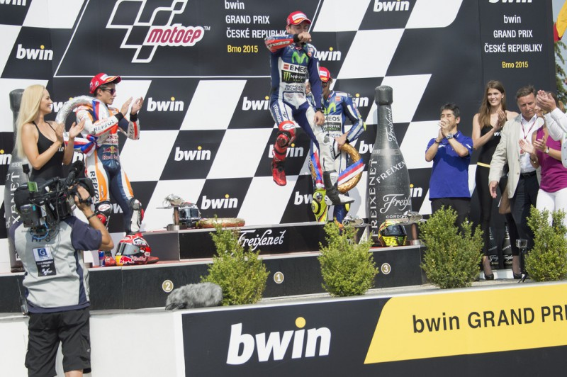 Jorge Lorenzo of Spain and Movistar Yamaha MotoGP celebrates the victory on the podium at the end of the MotoGP race during the MotoGp of Czech Republic - Race at Brno Circuit on August 16, 2015 in Brno, Czech Republic.