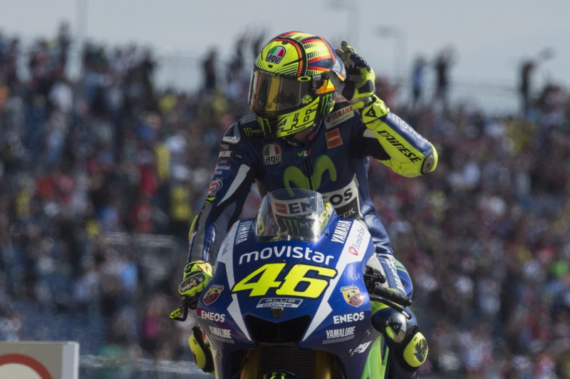 Valentino Rossi of Italy and Movistar Yamaha MotoGP celebrates the third place at the end of the MotoGP race during the MotoGP of Spain - Race at Motorland Aragon Circuit on September 27, 2015 in Alcaniz, Spain.