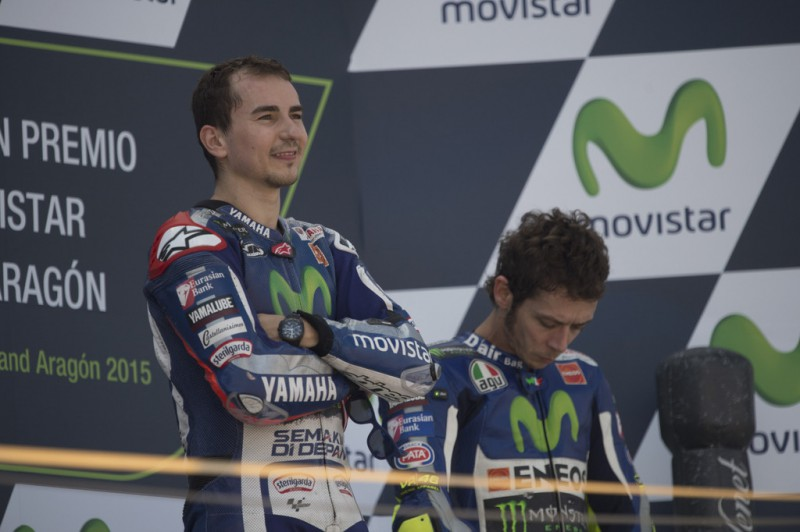 Jorge Lorenzo of Spain and Movistar Yamaha MotoGP celebrates the victory on the podium at the end of the MotoGP race during the MotoGP of Spain - Race at Motorland Aragon Circuit on September 27, 2015 in Alcaniz, Spain.