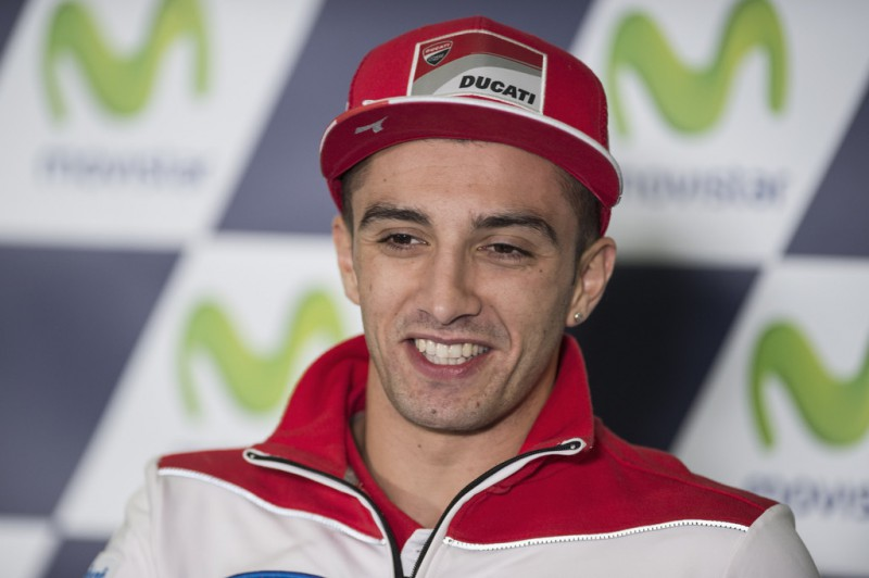 Andrea Iannone of Italy and Ducati Team smiles during the press conference at the end of the qualifying practice during the MotoGP of Spain - Qualifying at Motorland Aragon Circuit on September 26, 2015 in Alcaniz, Spain.