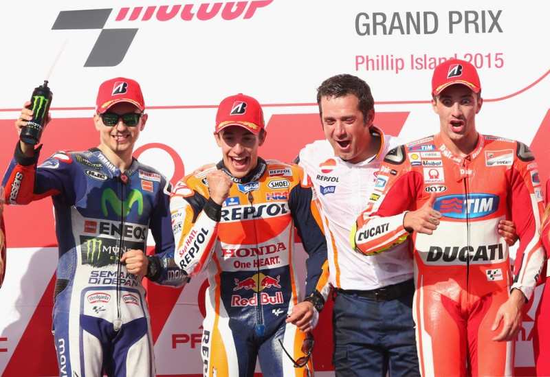 Jorge Lorenzo of Spain and Movistar Yamaha MotoGP, Marc Marquez of Spain and the Repsol Honda team and Andrea Iannone of Italy and the Ducati Team celebrate on the podium the 2015 MotoGP of Australia at Phillip Island Grand Prix Circuit on October 18, 2015 in Phillip Island, Australia.