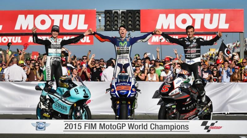 2015 FIM MotoGP, Moto2 and Moto3 champions.