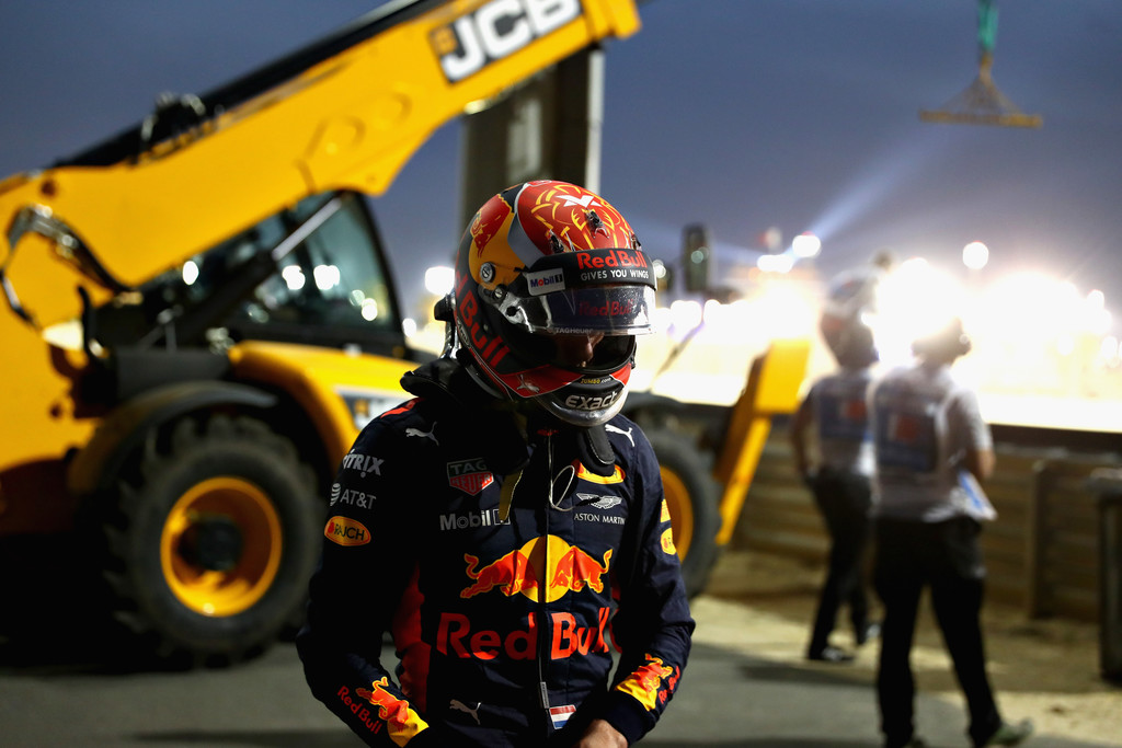 Max Verstappen of Netherlands and Red Bull Racing walks away after crashing into a barrier during the Bahrain Formula One Grand Prix at Bahrain International Circuit on April 16, 2017 in Bahrain, Bahrain.