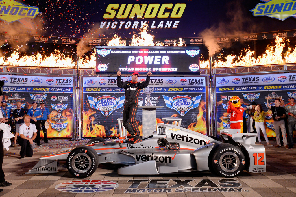 Will Power, driver of the #12 Verizon Team Penske Chevrolet, celebrates in Victory Lane after winning the Verizon IndyCar Series Rainguard Water Sealers 600 at Texas Motor Speedway on June 10, 2017 in Fort Worth, Texas.