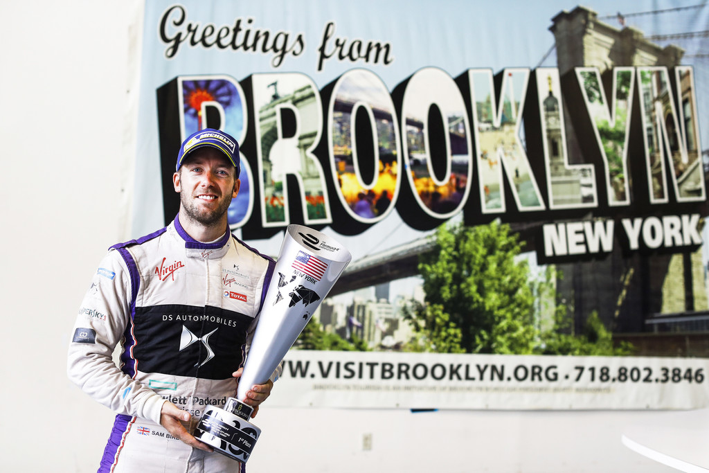 Sam Bird (GBR), DS Virgin Racing, Spark-Citroen, Virgin DSV-02, with his trophy during the New York City ePrix, tenth round of the 2016/17 FIA Formula E Series on July 16, 2017 in Brooklyn, New York City, NY, USA.