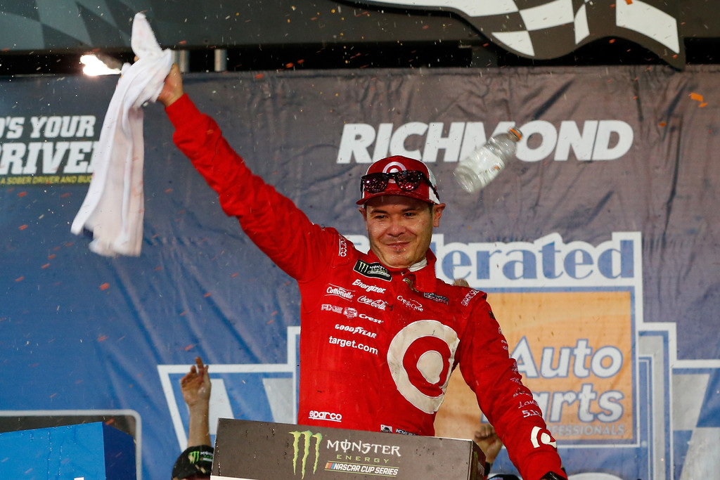 Kyle Larson, driver of the #42 Target Chevrolet, celebrates in Victory Lane after winning the Monster Energy NASCAR Cup Series Federated Auto Parts 400 at Richmond Raceway on September 9, 2017 in Richmond, Virginia.