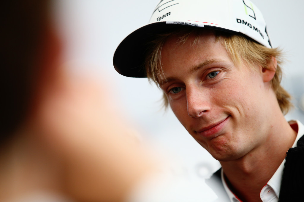 Brendon Hartley of New Zealand and Porsche Team is interviewed at a media session prior to qualifying for the Le Mans 24 Hour race at the Circuit de la Sarthe on June 16, 2016 in Le Mans, France.