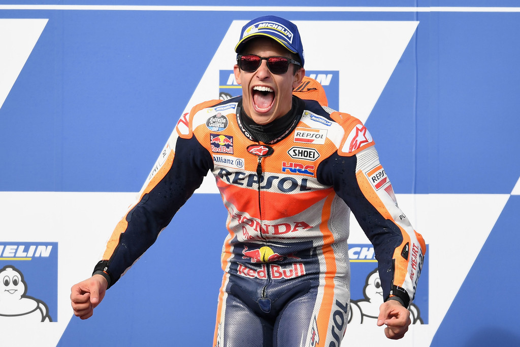 Marc Marquez of Spain who rode the #93 REPSOL HONDA TEAM Honda celebrates winning the 2017 MotoGP of Australia at Phillip Island Grand Prix Circuit on October 22, 2017 in Phillip Island, Australia.