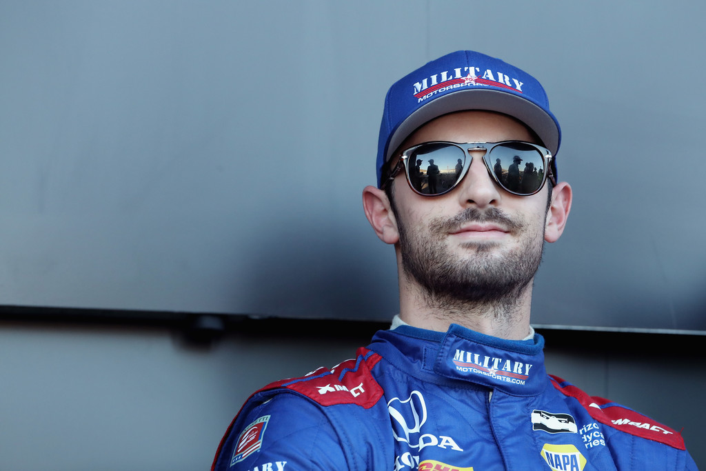 Alexander Rossi #27 driver of the Andretti Autosport Honda IndyCar sits at the stage for introductions to the Verizon IndyCar Series Phoenix Grand Prix at ISM Raceway on April 7, 2018 in Avondale, Arizona.