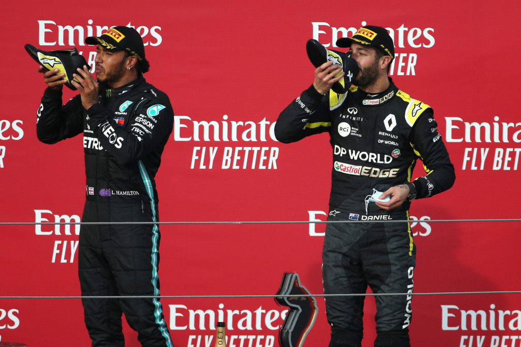 Race winner Lewis Hamilton Mercedes AMG F1 celebrates on the podium with third placed Daniel Ricciardo Renault F1 Team. Emilia Romagna Grand Prix, Sunday 1st November 2020. Imola, Italy.