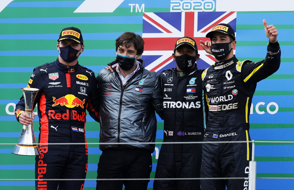 Race winner Lewis Hamilton of Great Britain and Mercedes GP, second placed Max Verstappen of Netherlands and Red Bull Racing and third placed Daniel Ricciardo of Australia and Renault Sport F1 celebrate on the podium during the F1 Eifel Grand Prix at Nuerburgring on October 11, 2020 in Nuerburg, Germany.