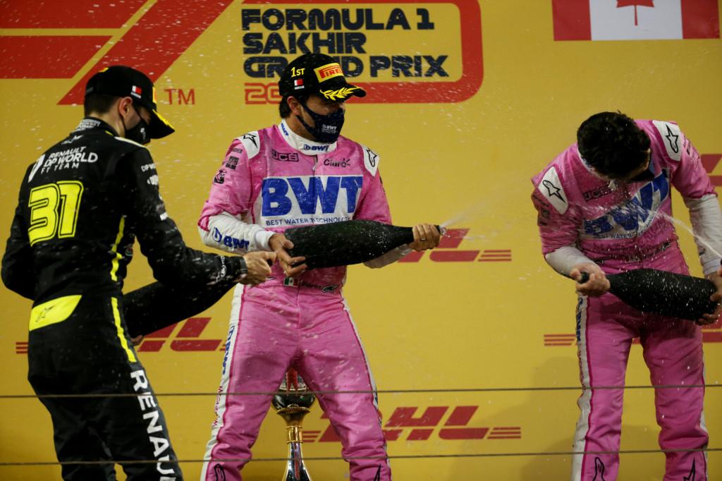 The podium: Sergio Perez Racing Point F1 Team, race winner; Esteban Ocon Renault F1 Team, second; Lance Stroll Racing Point F1 Team, third. Sakhir Grand Prix, Sunday 6th December 2020. Sakhir, Bahrain.