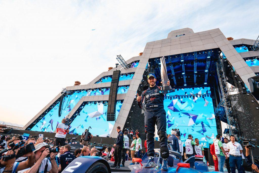 Sam Bird celebrates his first 2021 Formula E victory at Saudi Arabia.